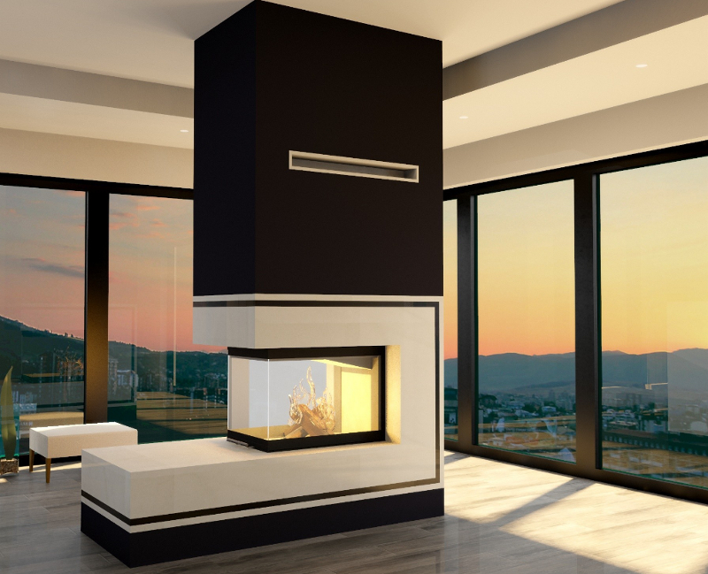 volcano 3pluh 11 kw dreiseitig eckkamin kamineinsatz wasserlos. Black Bedroom Furniture Sets. Home Design Ideas