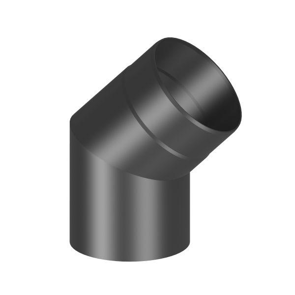 Kaminrohr 45° Winkel ohne Reinigungsöffnung Ø120 mm schwarz