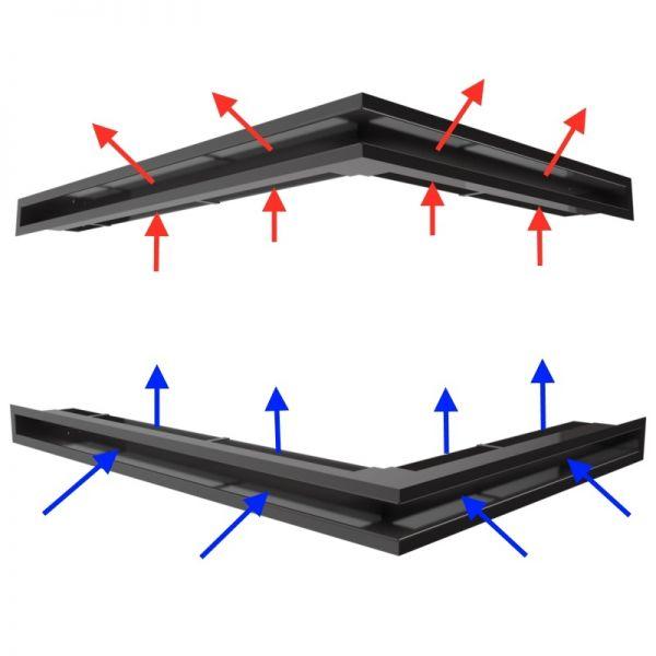 Eckluftleiste Luftleiste Set für Kamin mit kleiner Scheibe rechts 547x766x60 mm schwarz