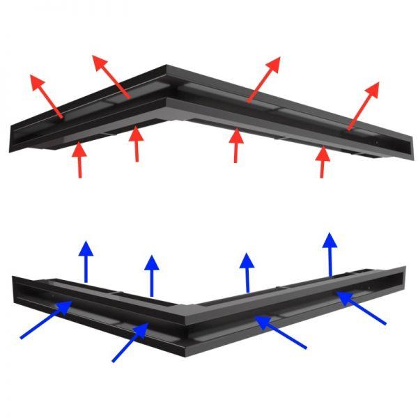 Eckluftleisten Set kleine Scheibe links schwarz
