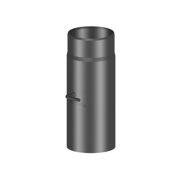 Kaminrohr 300 mm lang mit Drosselklappe Ø120 mm schwarz