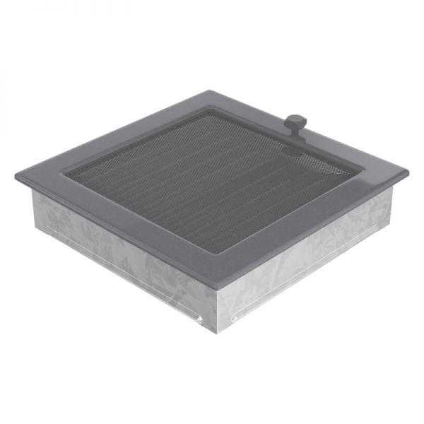 Lamellengitter verstellbar mit Gaze 22x22 cm graphit
