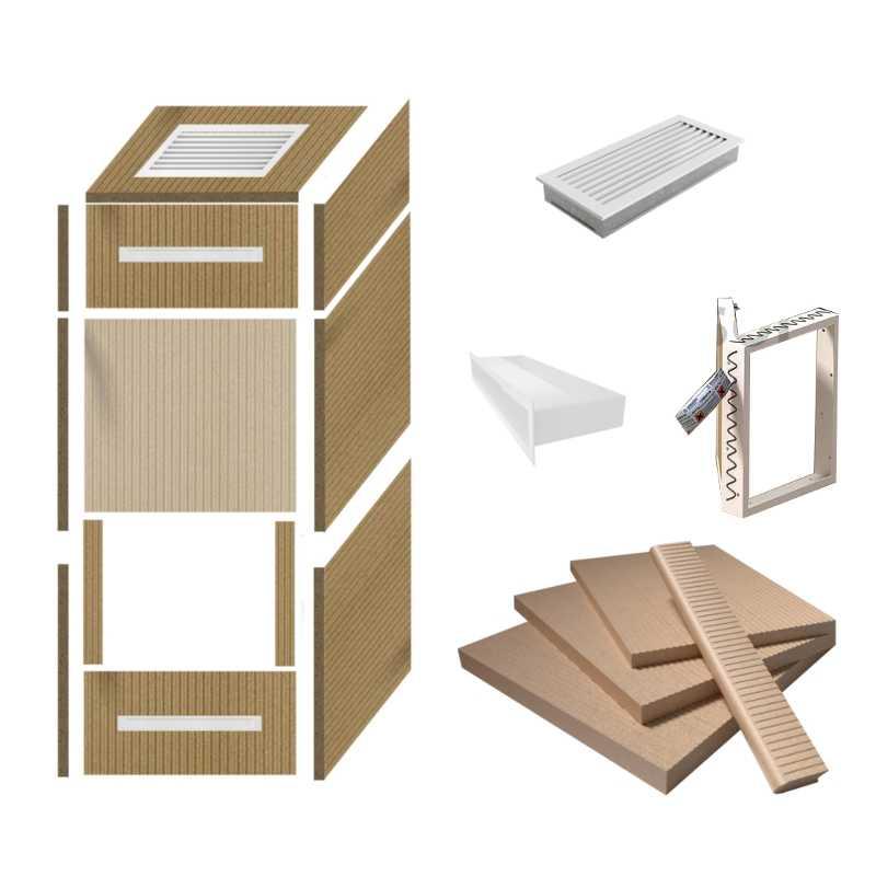 universeller kaminbausatz zur verkleidung inkl luftleisten wei. Black Bedroom Furniture Sets. Home Design Ideas