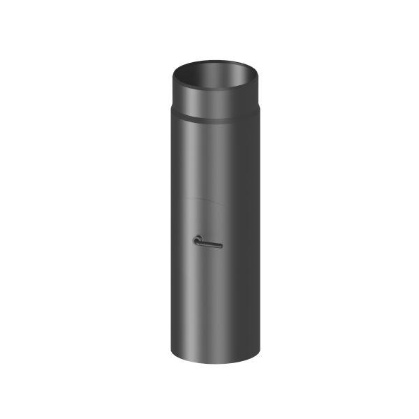 Kaminrohr 500 mm lang mit Drosselklappe Ø120 mm schwarz