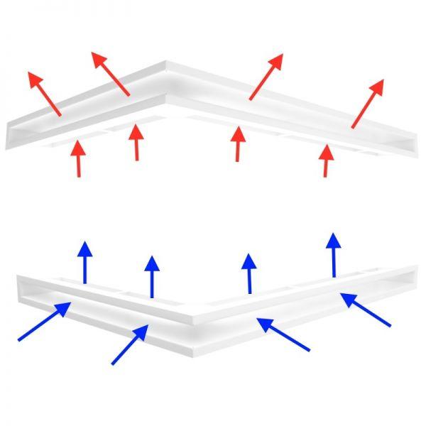 Eckluftleiste Luftleiste Set für Kamin mit kleiner Scheibe links 547x766x60 mm weiß