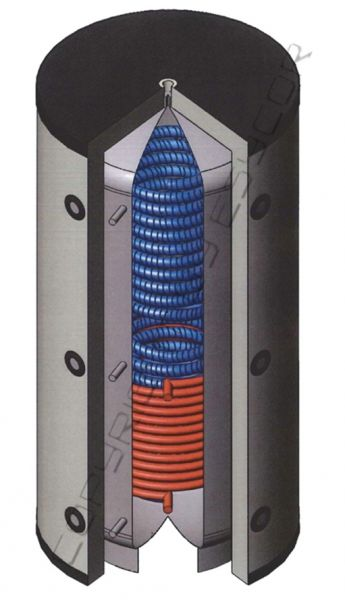 Hygienespeicher mit Edelstahl-WT und 1x Solar-WT