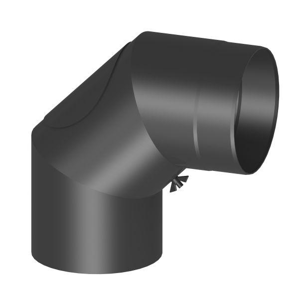 Kaminrohr 90° Winkel mit Reinigungsöffnung Ø120 mm schwarz