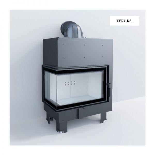 TFD7-KEL Eckkamineinsatz links gewinkelt 7 kW