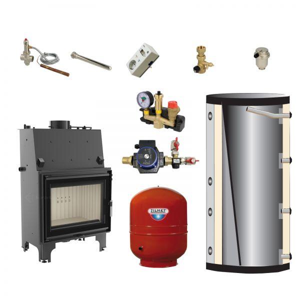 Komplettanlage wasserführender Kamineinsatz Aquario ADG 14 kW