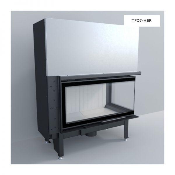 TFD7-HER Eckkamineinsatz rechts gewinkelt 7 kW